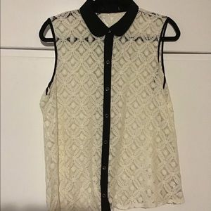 Forever 21 size large lace button down tank top